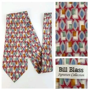 Bill Blass 100% Silk Tie Necktie Red Blue Mustard